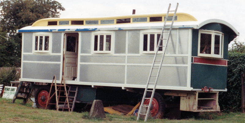 a showmans caravan during renovation